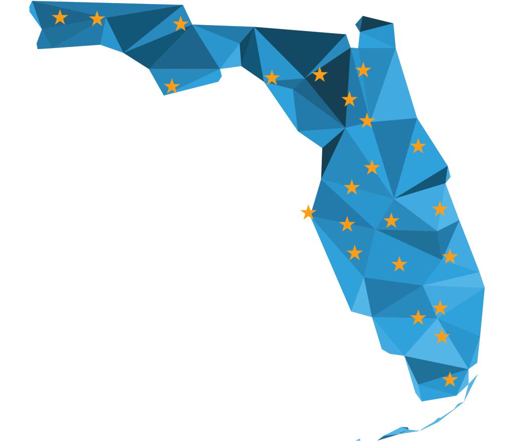 Florida Map With Stars 1024x1024 Careersource Florida