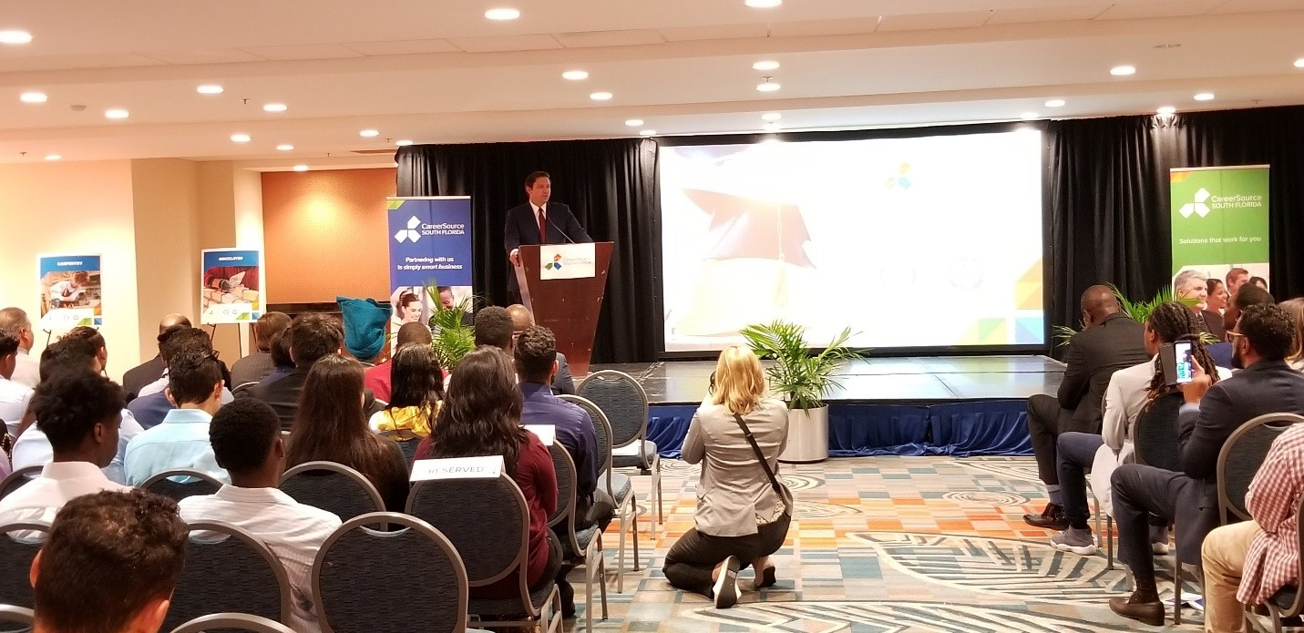 Governor Ron DeSantis addresses the first graduates of the Miami-Dade Youth Pre-Apprenticeship Career and Technical Training Program, a partnership between Miami-Dade County Public Schools and CareerSource South Florida