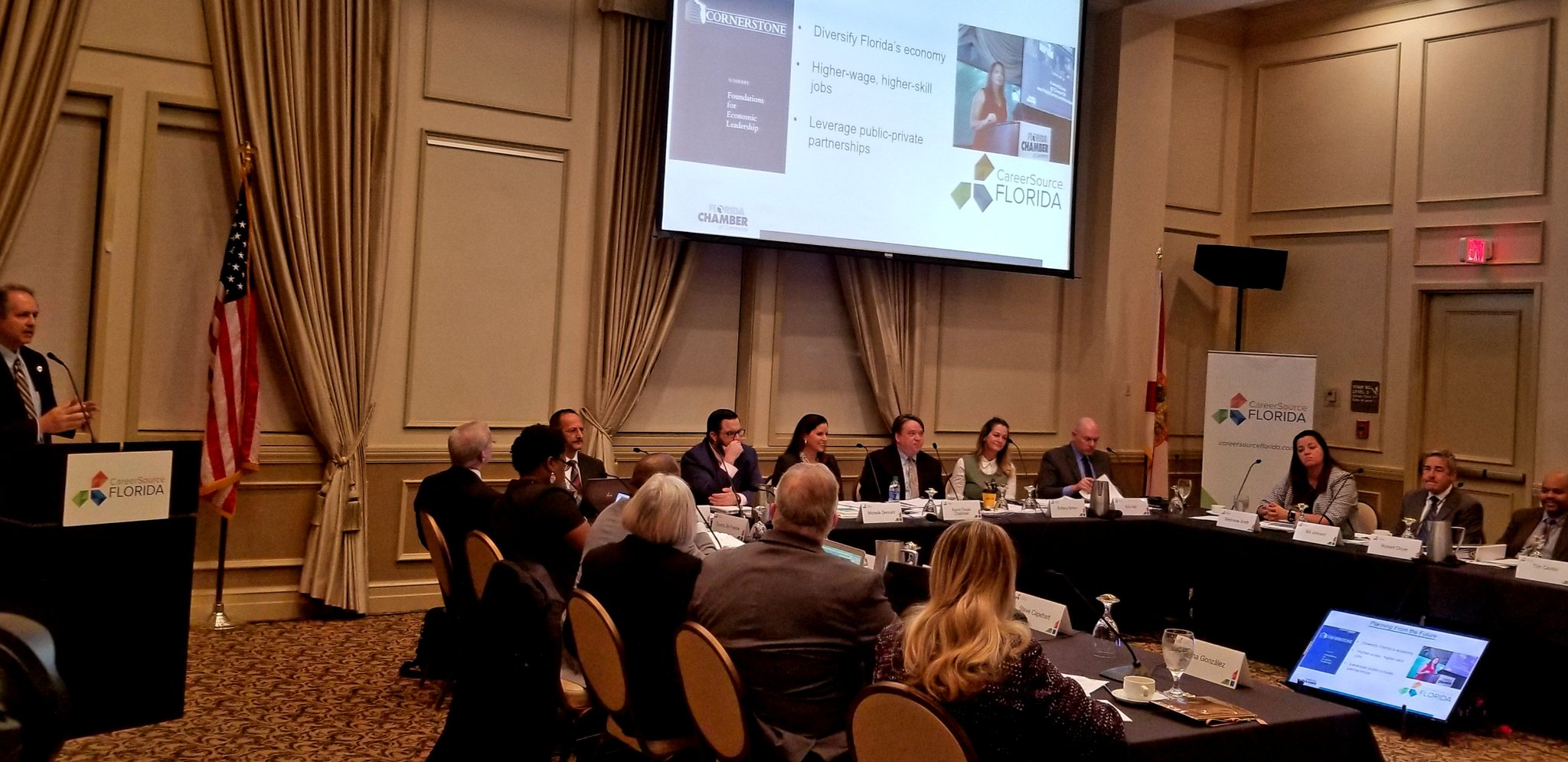 Florida Chamber of Commerce President and CEO Mark Wilson briefs the CareerSource Florida Board of Directors on the Florida Chamber Foundation's latest report, Florida Workforce 2030.